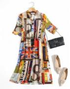 米皇桑蚕丝真丝女士荷叶袖连衣裙   真丝服装   GB18401