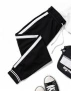 春季新款潮牌撞色运动裤学生弹力松紧腰长裤 女士休闲裤   FZ/T01057 GB18401